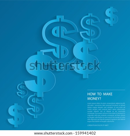 Dollar Signs on blue background. - stock vector