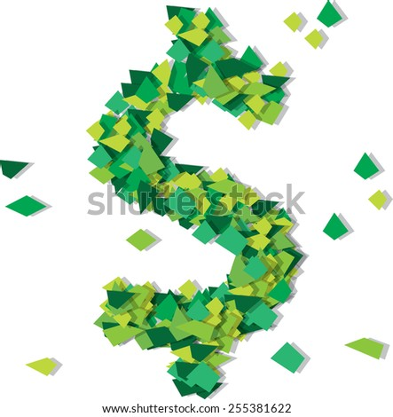 Dollar symbol confetty Isolated object on white background. Color vector illustration. - stock vector