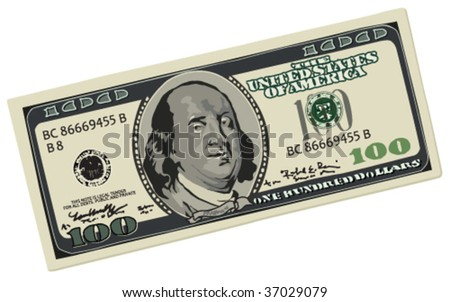 Dollar, vector without gradients - stock vector