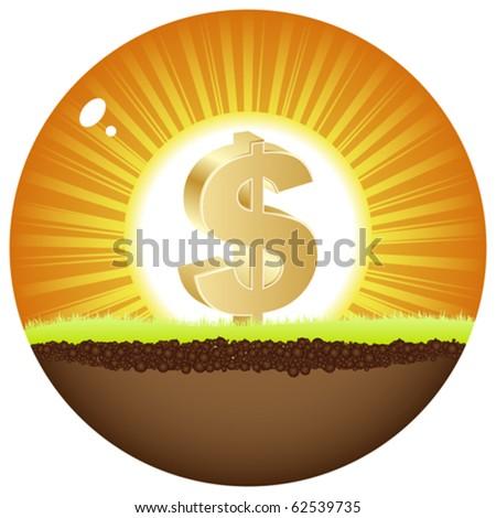 dollar view in sunshine - stock vector