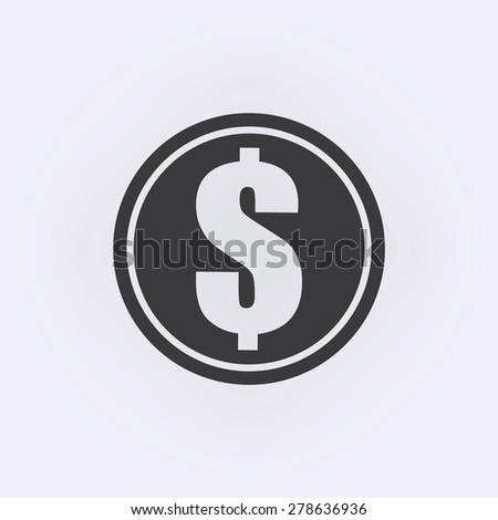 Dollars money coin icon - Vector - stock vector