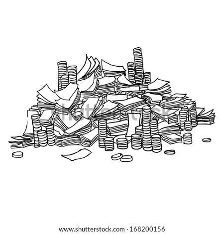Dollars. Pile from packs of money. Vector sketch - stock vector