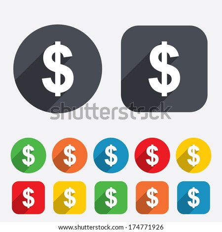 Dollars sign icon. USD currency symbol. Money label. Circles and rounded squares 12 buttons. Vector - stock vector