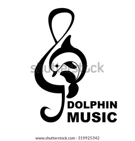 Dolphin and treble clef. Music logo vector illustration - stock vector