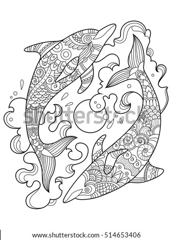 dolphin coloring book for adults vector illustration anti stress coloring for adult tattoo - Dolphin Coloring Book