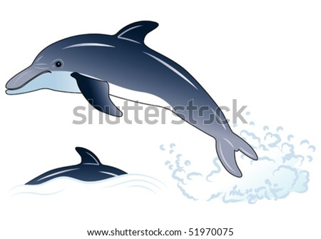 Dolphin, element for design, vector illustration