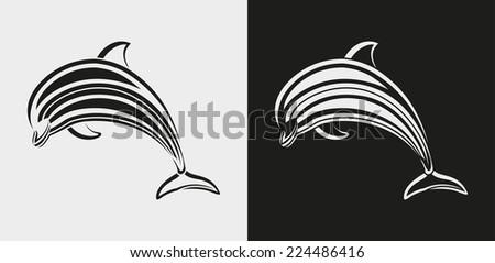dolphin icon  - stock vector