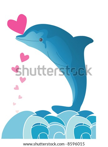 Dolphin in a sea with pink hearts - stock vector