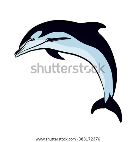 Dolphin jumped out of the sea - stock vector