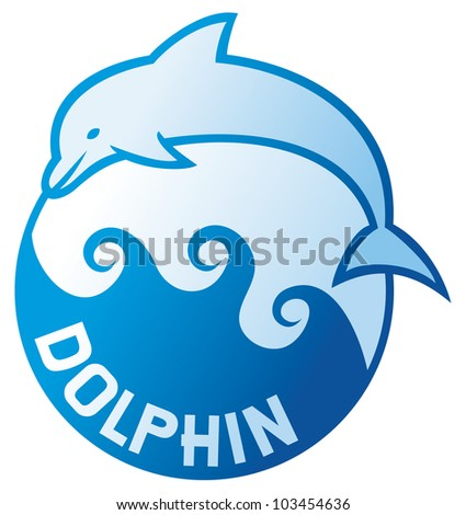 dolphin jumping symbol (dolphin label, dolphin sign, dolphin and waves) - stock vector