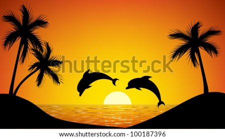 dolphin jumping up from the ocean at sunset - stock vector