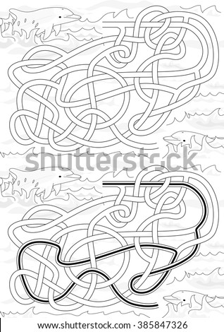 Dolphin maze for kids with a solution in black and white