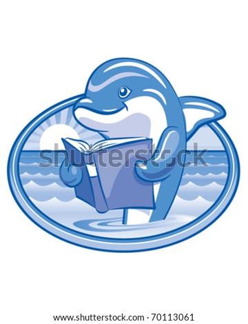 Dolphin Reading - stock vector