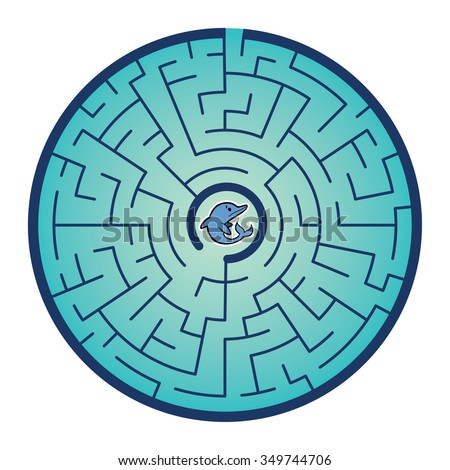 Dolphin's Round Maze Game (help the dolphin  find way out of the maze - Maze vector puzzle)