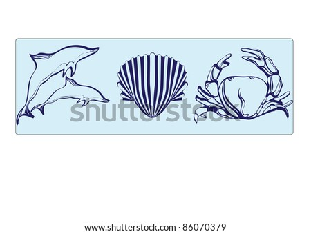dolphin, shell and crab