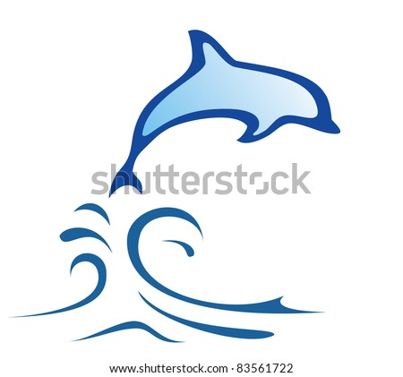 dolphin symbol in simple lines