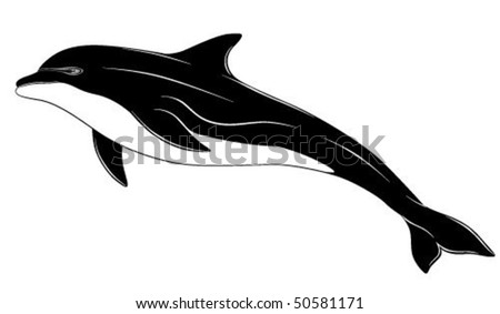 Dolphin, tattoo - stock vector