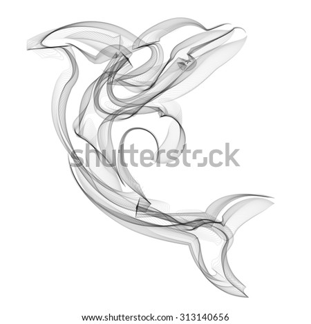Dolphin vector silhouette on white background. - stock vector