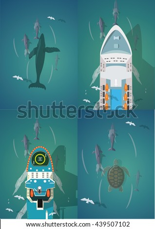 Dolphins and Ships. Set of the top view vector illustration. - stock vector