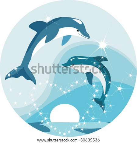 dolphins jump out from water round an ablaze heart on sunset of a sun - stock vector