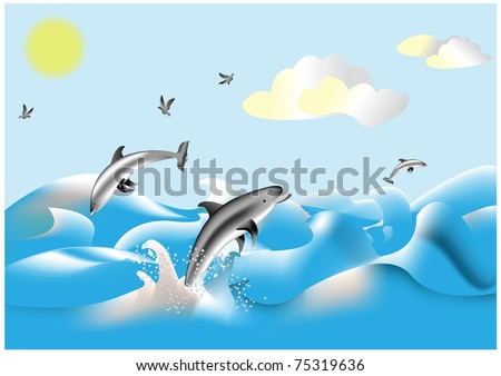Dolphins swimming in the blue sea