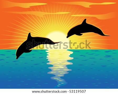 Dolphins vector - stock vector