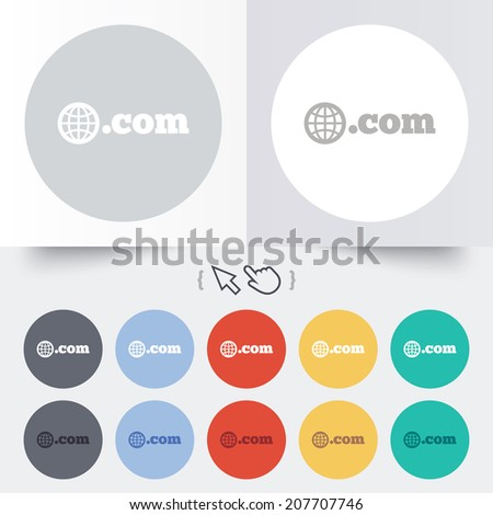 Domain COM sign icon. Top-level internet domain symbol with globe. Round 12 circle buttons. Shadow. Hand cursor pointer. Vector - stock vector