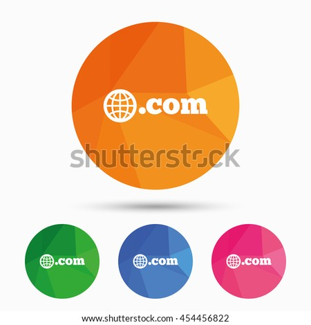 Domain COM sign icon. Top-level internet domain symbol with globe. Triangular low poly button with flat icon. Vector - stock vector