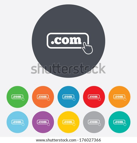 Domain COM sign icon. Top-level internet domain symbol with hand pointer. Round colourful 11 buttons. Vector - stock vector
