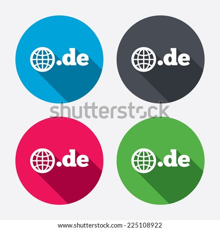 Domain DE sign icon. Top-level internet domain symbol with globe. Circle buttons with long shadow. 4 icons set. Vector - stock vector