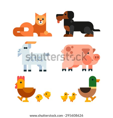 Domestic Animals Set. Cat, dog, goat, pig, chicken with chickens, duck with ducklings. Vector flat illustration. - stock vector