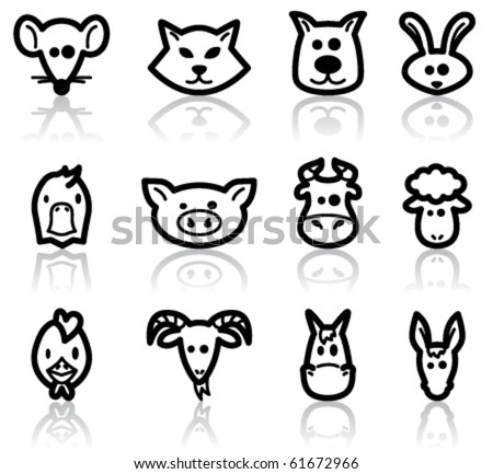 Domestic animals set, vector illustration - stock vector