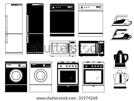 Domestic appliances - stock vector