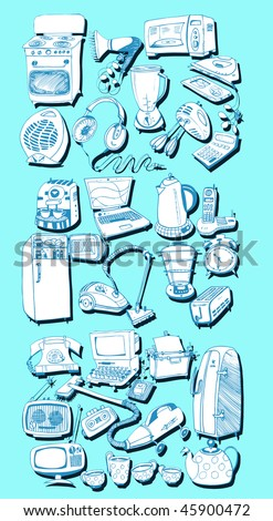 Domestic Doodles Set (vector hand drawn) - stock vector