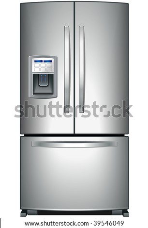 Domestic metallic refrigerator with bottom freezer - stock vector