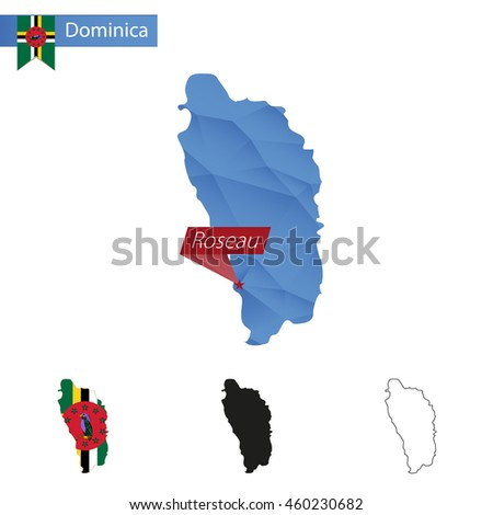 Dominica blue Low Poly map with capital Roseau, versions with flag, black and outline. Vector Illustration. - stock vector