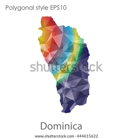Dominica map in geometric polygonal style.Abstract gems triangle,modern design background. Vector illustration EPS10