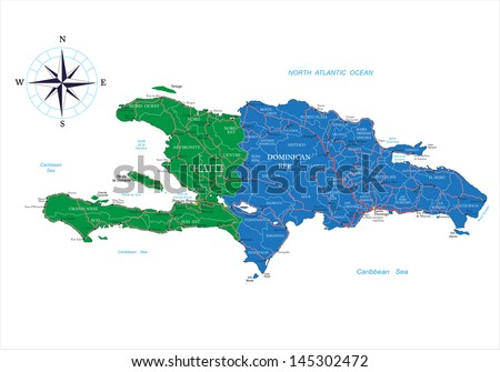 Dominican Republic and Haiti map - stock vector