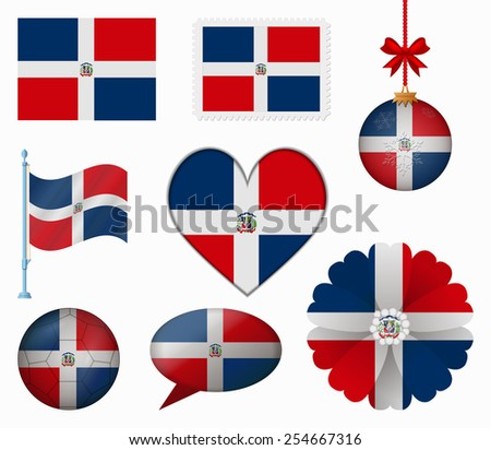 Dominican Republic flag set of 8 items vector