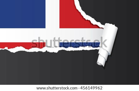 Dominican Republic flag under ripped paper vector illustration. - stock vector
