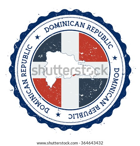 Dominican Republic map and flag in vintage rubber stamp of country colours. Grungy travel stamp with map and flag of Dominican Republic, vector illustration - stock vector