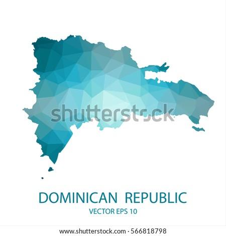 Dominican Republic Map Blue Geometric Rumpled Stock Vector - Dominican republic map vector
