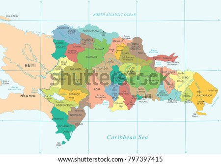 Dominican republic map high detailed vector stock vector 797397415 dominican republic map high detailed vector illustration gumiabroncs Choice Image