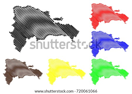 Dominican Republic map vector illustration, scribble sketch Dominican Republic