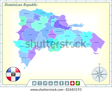 Dominican Republic Map with Flag Buttons and Assistance & Activates Icons Original Illustration - stock vector