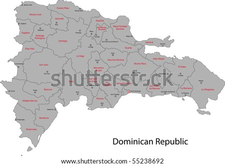 Dominican Republic map with provinces and capital cities - stock vector