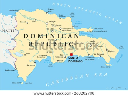 Dominican Republic Political Map Capital Santo Stock Vector - Dominican republic map