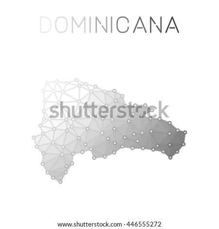 Set Vector Polygonal Dominican Republic Maps Stock Vector - Dominican republic map vector