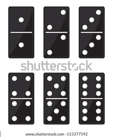 Domino black set - stock vector