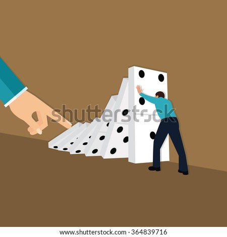 domino effect hand finger push dominoes concept consequences chain reaction - stock vector